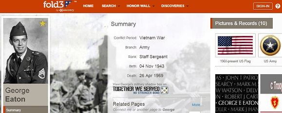 Ancestry's Fold3 Wall of Honor service allows users to upload information about their relatives who served to share information about their military service. The uploaded information is freely available.