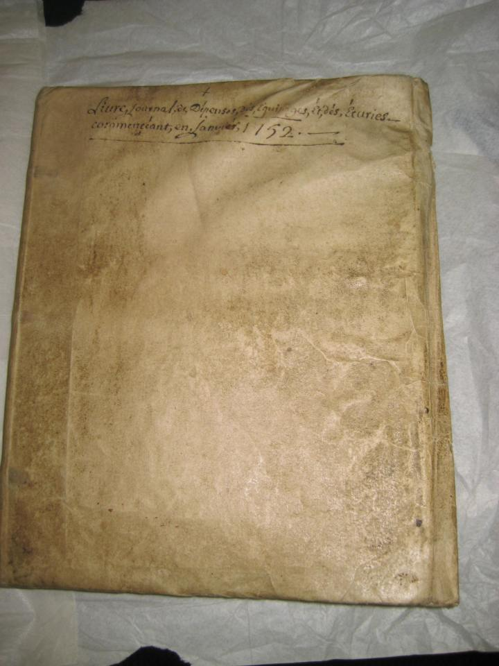 "The book is titled, ""Livre Journal de Depenses des Equipages et des Ecuries."" I don't know French, but Google Translate tells me means ""Expenditure Logbook of Crews and Stables."""