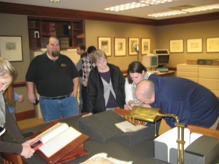 ...before digging in and poring over each object, including close inspection of Mary Cochran's Civil War-era diary from the Archival Collections.