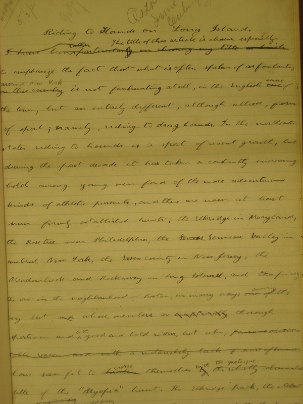 The first page. The essay is written on plain note paper.