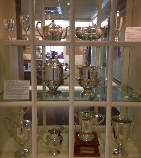One of the trophy display cases in the Library.