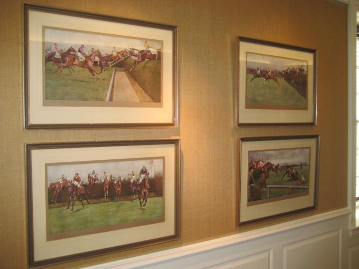 We've had a large bare spot in the Main Reading Room since we sold all those Robin Hill prints in last year's book sale. Thanks to Nicole, we now have Cecil Aldin's depictions of the Grand National there instead.