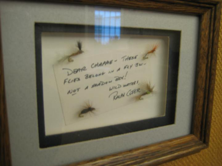 The flies were carefully framed by Chapman, who donated a large fly fishing book collection to the Library in 2011.