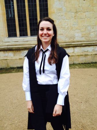 Kasey Morris, in her Oxford matriculation outfit