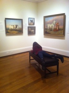 One artist trying her hand at sketching from the Troye exhibition. Pictured are works on loan to the exhibition (left to right): Lord Elgin, 1857, Collection of Dr. Jim and Dr. Lynn Middleton; Susette, 1837, Collection of Lawrence and Rene Kurzius; Kirkpatrick, 1838, Collection of Kirk and Palmer Ragsdale; and Mokhladi, 1854, Private Collection.