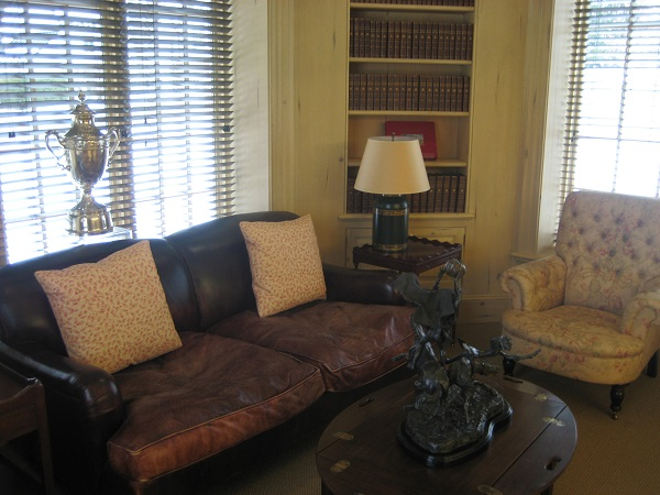 The reading alcove is a comfortable place to settle in and read.