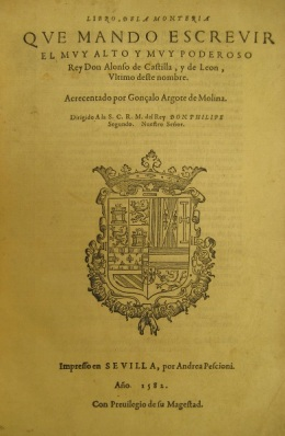 "Cover page from ""Libro de la Monteria"" used in Collin's research"