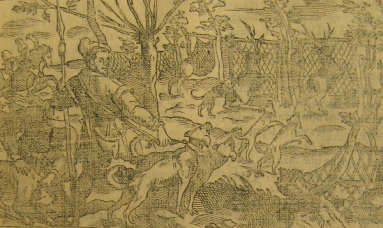 "Another illustration from ""Libro de la monteria"" - Dogs and men hunting elk with a fence barrier"