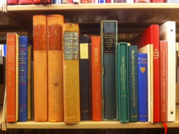 Shelf of foxhunting literature in the main reading room