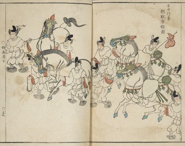 The horses in this image wear Chinese-style stirrups, which were ring-shaped.