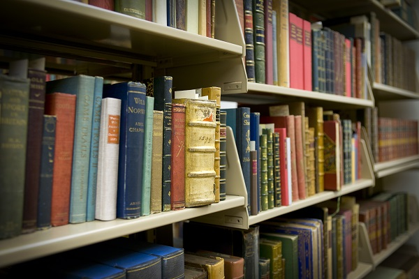 Books shelved in the F. Ambrose Clark Rare Book Room.