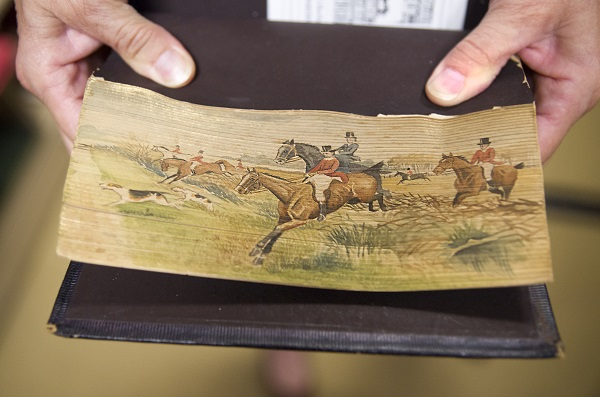 Hunting Scene, Fore-edge painting, fanned to the right, The Poetical Works of Henry Wadsworth Longfellow, Edinburgh and London, Gall & Inglis, Gift of John H. and Martha Daniels.