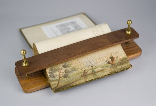 Fishing Scene, Fore-edge painting, fanned to the right. The Poetical Works of Thomas Campbell, London, Edward Moxon, 1840.