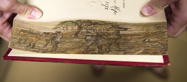 Shooting Scene, Fore-edge painting, fanned to the right, The Bird, by Jules Michelet; with 210 illustrations by Giacomelli, London, T. Nelson and Sons, 1872. Gift of John H. and Martha Daniels.