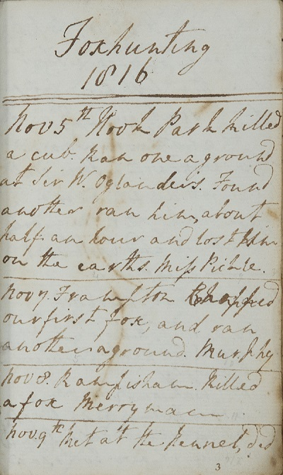A foxhunting diary from 1816. Legibility is difficult.