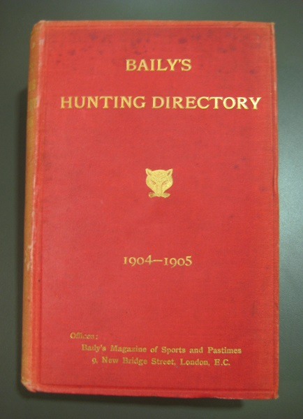Baily's Hunting Directory, covering the 1904-1905 hunting season. Baily's print editions were distinctive for their red hard-bound covers.