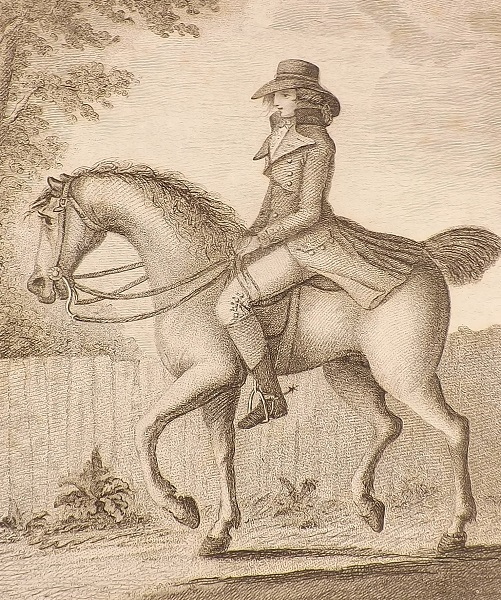 """""""The Mistaken Notion"""" Gambado laments the """"false notions of horsemanship adopted, and industriously circulated by Newcastle, La Fosse, Pembroke, and Berenger."""""""