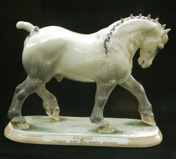 "Ceramic Draft Horse Sculpture, Inscribed ""H. S. Finney From Maryland Draft Horse Breeders Association"""