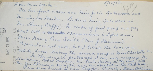 Letter from Thomas Atkinson, dated May 26, 1965.  This was written in response to a request to identify riders in the photo.