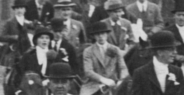 Behind Miss Gatewood is Mr. Harry Duffy Jr. In center of first group in a grey coat with a chrysanemum [sic] is, I feel sure, Miss Nancy Penn Smith (Mrs. J Hannum).