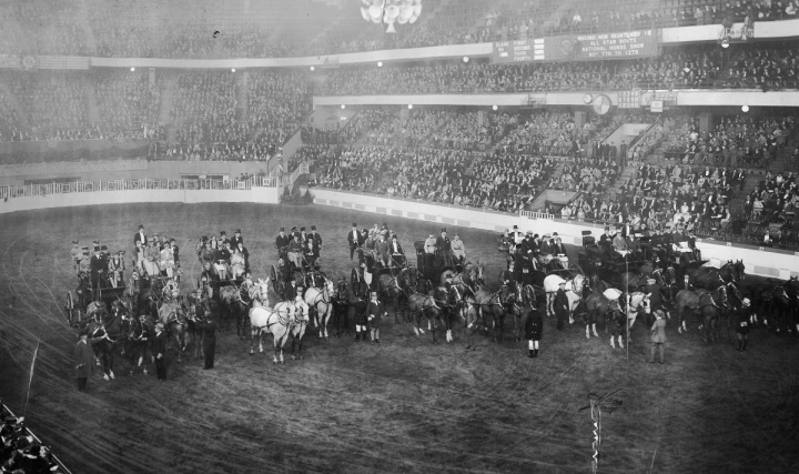 The coaching parade at the 1927 National Horse Show in Madison Square Garden.