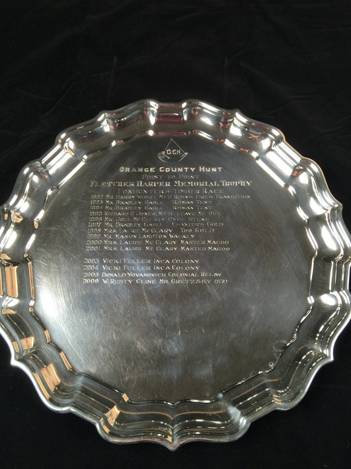 Fletcher Harper Memorial Trophy: Foxhunters Timber Race, sterling silver, diameter: 12 inches, Collection of Orange County Hounds, on loan to the National Sporting Library & Museum