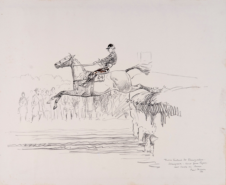 From Aintree to Llangollen. Glangesia – How Jim Ryan sat back on him, 1932, pencil and ink on paper, NSLM, Gift of Helen K. Groves, 2008