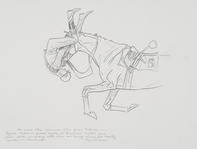 He rode the winner the year before, c. 1940, pencil on paper, NSLM, Gift of Boots Wright in memory of Mr. and Mrs. Richard E. Riegel Lyall takes a good look at Inverse' teeth and then parts company with him - hung there for thirty yards - Bechers.