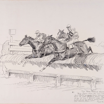 "1932 drawing by Paul Brown, from ""Inaugural Llangollen Race Meeting"" (c) Paul Brown"