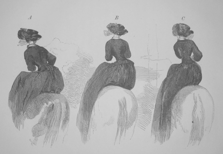 """Frequently in the desire of bringing back the hands to their proper position, the elbows are shifted to the right, the right one being forced outward, and the shoulder on the same side unduly elevated, imparting the most awkward and -- a short distance off -- even deformed appearance of the rider."""