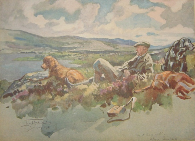 """""""This picture is a fraud, for it suggests a midday rest after a strenuous morning over dogs in pursuit of the elusive grouse bird. In actual fact it depicts a brother artist, plus my host's dogs, on a hot August day above Loch Ness, all in that drowsy state peculiar to after luncheon on the Sabbath!"""""""