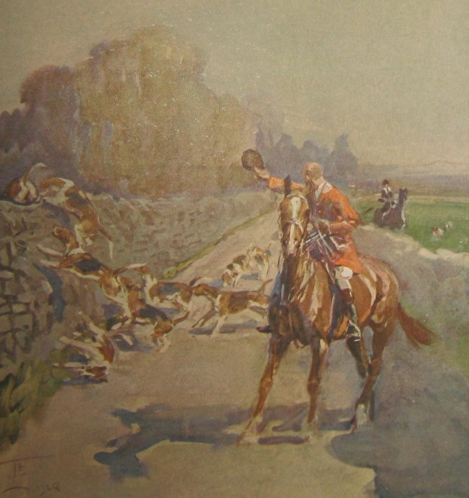"""""""This memory note was made after hunting with the Linlithgow and Stirlingshire, and represents hounds climbing the park wall of Dalmahoy (now a golf club), which is one of the nearest points to Edinburgh over which hounds still hunt."""""""
