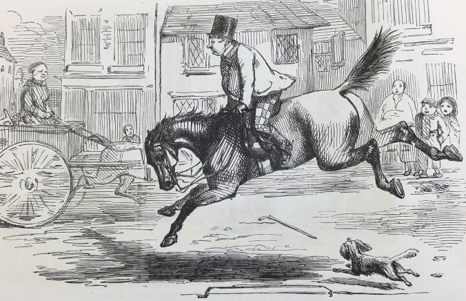 Pleasures of Horsekeeping. The frost goes, and Mr. Briggs's horse is disagreeably fresh after his long rest. He sets up his back and squeaks and plunges at everything he meets.