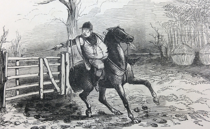"""Mr. Briggs, not being good at his """"fences,"""" goes through the performance of opening a gate."""
