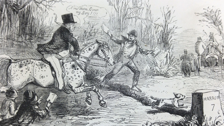 """Mr. Briggs, on his way to the """"Metropolitan Steeple chase,"""" tries whether his horse is a good one across country. He is represented riding at a brook (!)."""