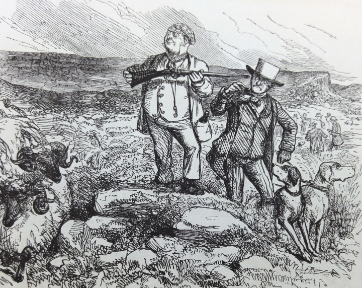 """Mr. Briggs Grouse Shooting. 9 a.m., his arrival on the moor. Mr. Briggs says that the fine bracing air makes him so vigorous that he shall never be beat. He also facetiously remarks that he is on """"his native health,"""" and that his """"name is MacGregor!"""" The result of the Day's Sport will be communicated by Electric Telegraph."""
