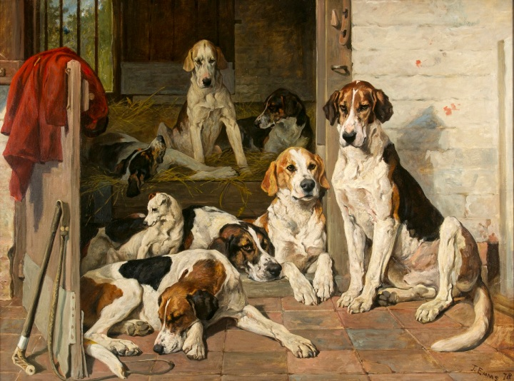 John Emms (English, 1841-1912) Foxhounds and Terrier in a Stable Interior, 1878 oil on canvas, 39 x 52 inches Gift of Felicia Warburg Rogan, 2008