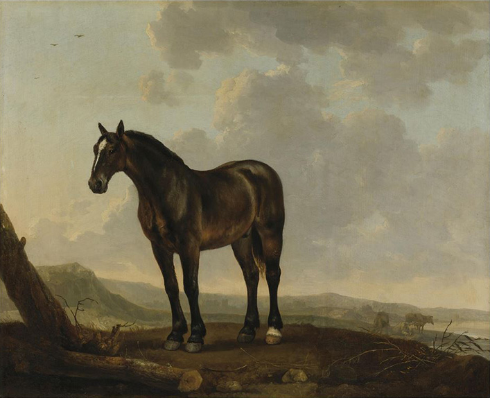 Portrait of a Horse in a Landscape, c. 1690, oil on panel, 18 7/8 x 23 ¼ inches, National Sporting Library & Museum, Gift of Mrs. Henry H. Weldon, 2008