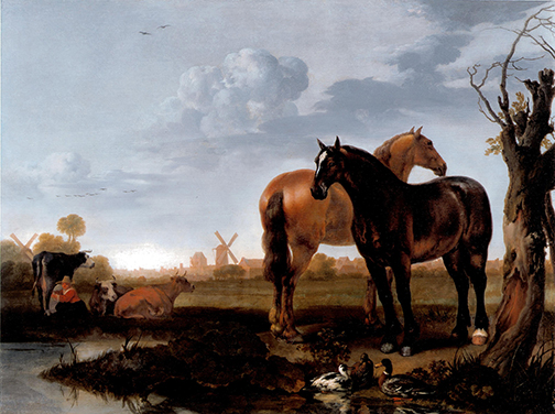 Abraham van Calraet, Horses in a Marsh Landscape, c.1690, oil on panel, 15 x 20 1/8 inches, Private Collection