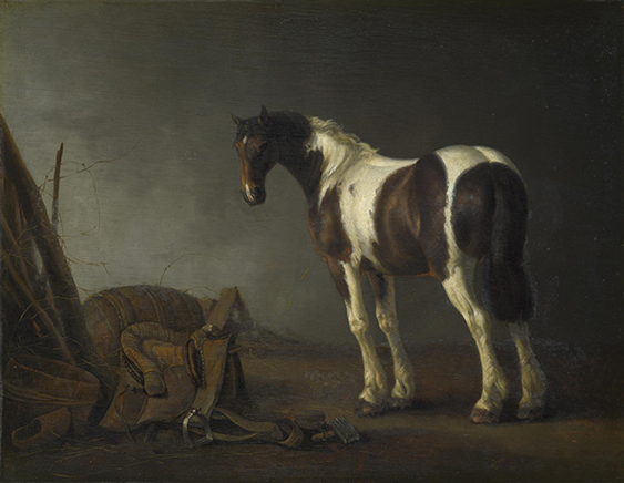 A Brown and White Horse with a Saddle Beside It, 1675-1685, oil on oak panel, 13 ½ x 17 ½ inches, Victoria & Albert Museum, Bequeathed by Rev. Chauncey Hare Townshend, 1868, © Victoria & Albert Museum