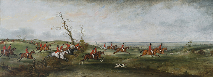 John Ferneley, Sr, (British, 1781-1860), The Hunt in Belvoir Vale, c.1835 oil on canvas, 48 x 133 in. Gift of Kathryn James Clark in memory of Stephen C. Clark, Jr., 2013