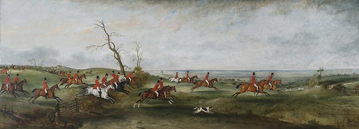 John Ferneley, Sr, (British, 1781-1860), The Hunt in Belvoir Vale, c.1835 oil on canvas, 48 x 133 in. Gift of Kathryn James Clark in memory of Stephen C. Clark, Jr., 2013