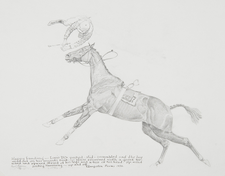 Paul Brown, Happy Landing, 1933, pencil and ink on paper, 8 1/2 x 11 1/4 inches, Gift of Boots Wright in memory of Mr. and Mrs. Richard E. Riegel, 2013