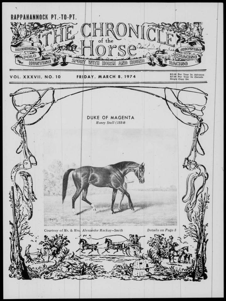 The Chronicle of the Horse, Vol. 37, No. 10: March 8, 1974. Front cover. © The Chronicle of the Horse, Inc.