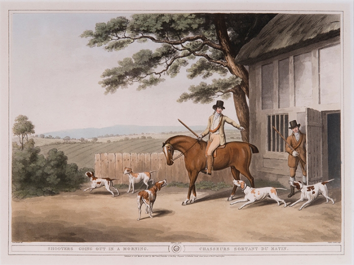 (after) Samuel Howitt (English, 1765-1822), Engraved by John Clark (English, active 1775-1825) and Henri Merke (Swiss, active c.1800 – c.1820) Shooters Going Out in a Morning Published by Edward Orme, March 25, 1808 hand-colored aquatint, 13 ¼ x 17 ⅜ inches National Sporting Library & Museum, Gift of George and Susan Matelich and Family, 2016 (2016.04.03)