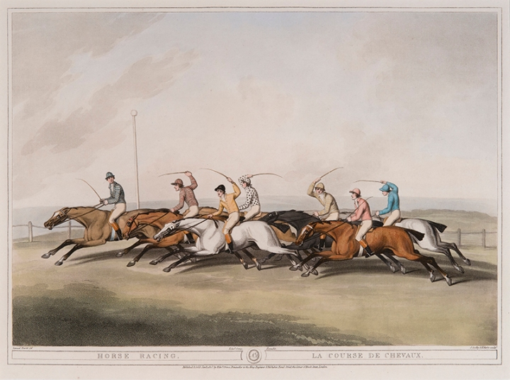 (after) Samuel Howitt (English, 1765-1822) Engraved by James Godby (English, active 1790-1820) and Henri Merke (Swiss, active c.1800 – c.1820) Horse Racing Published by Edward Orme, January 1, 1807 hand-colored aquatint, 13 ¼ x 17 ⅜ inches National Sporting Library & Museum, Gift of George and Susan Matelich and Family, 2016 (2016.04.04)