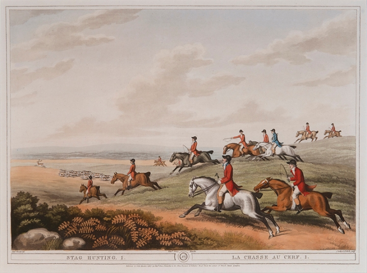 (after) Samuel Howitt (English, 1765-1822) Engraved by James Godby (English, active 1790-1820) and Henri Merke (Swiss, active c.1800-c.1820) Stag Hunting 1 Published by Edward Orme, March 1, 1807 hand-colored aquatint, 13 ¼ x 17 ⅜ inches National Sporting Library & Museum, Gift of George and Susan Matelich and Family, 2016 (2016.04.07)