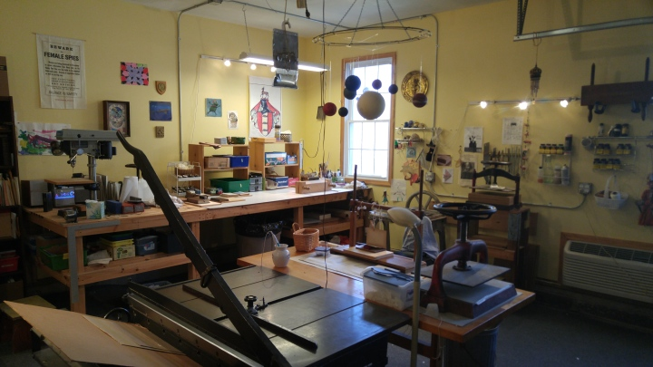 The workshop. Nancy has restored antiquarian books by hand for years.