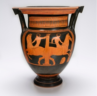 Attributed to the Orestes Painter, Greek (Attic), Red-figure Column Krater, ca. 440 BCE, Side A: Jockeys racing around column, terracotta,16 1/4 inches high, 14 3/8 inches wide, Private Collection. Ancient jockeys, who rode nude, raced their horses on long oval tracks with a sharp turn at each end.
