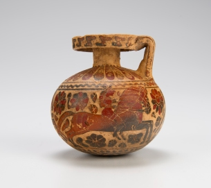 Attributed to the Warrior Group, Greek (Corinthian), Round Aryballos, ca. 635-615 BCE Horsemen with decorative rosettes terracotta, Private Collection, Virginia